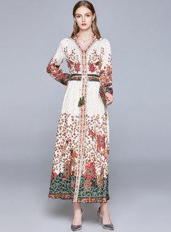 Lantern Sleeve V-neck Print Tied Maxi Dress