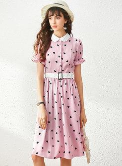 Sweet Patchwork Heart Pattern Skater Dress
