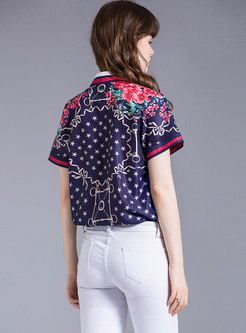 Stylish Print Short Sleeve Button-front Blouse