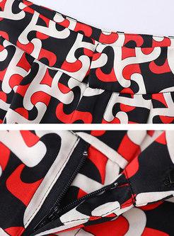 Scarf Collar Blouse & Print Palazzo Pants