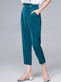 Solid Color Elastic Waist Cropped Harem Pants