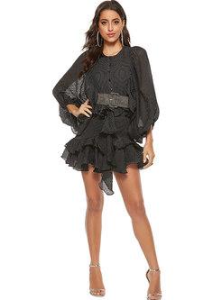 Striped Bat Sleeve Belted Ruffle Mini Skater Dress