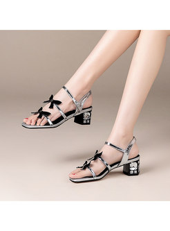 Square Toe Butterfly Studded Heel Sandals