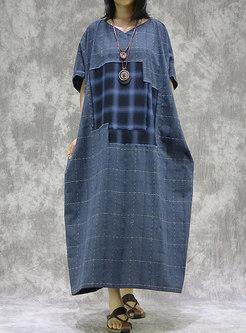 Plaid Patchwork V-neck Loose Linen Maxi Dress