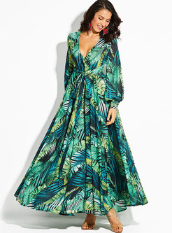 Lantern Sleeve Deep V-neck Wrap Maxi Dress