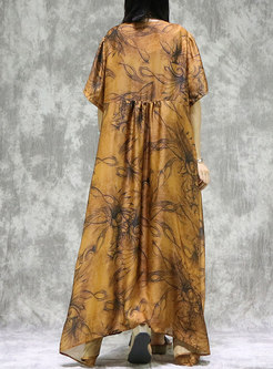 Vintage Print Loose Maxi Dress With Camis
