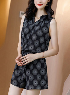 Print V-neck Sleeveless Drawcord Silk Rompers