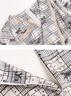 Print Patchwork V-neck Belted Romper