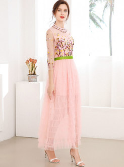 Mesh Embroidered Tiered Bridesmaid Dress