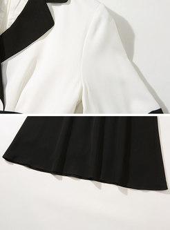 Color Block Wide Lapel Beaded Skater Dress