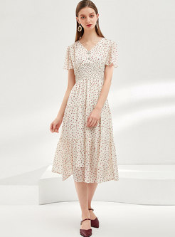 Polka Dot Elastic Waist Slim Midi Dress