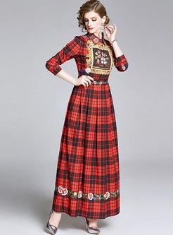Vintage Plaid Print Empire Waist Maxi Dress