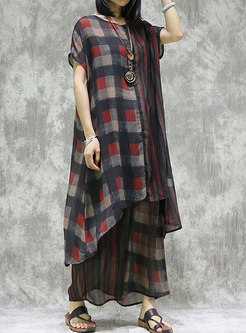 Plaid Crew Neck Plus Size Pant Suits