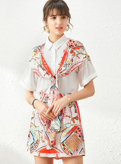 Print Patchwork Tied Pant Suits