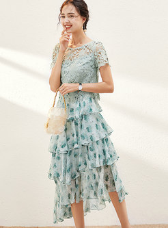 Lace Openwork Top & Floral Cake Skirt
