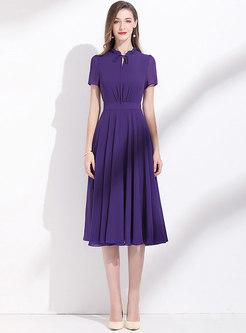 Ruffle Collar Gathered Waist A-line Dress