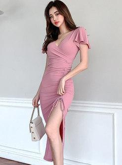 V-neck Ruched Drawstring Split Bodycon Dress