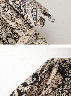 Print V-neck Flare Sleeve Belted Romper