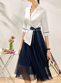 Color Block Patchwork Pleated Blazer Dress