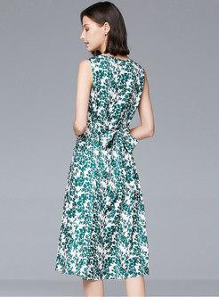 Floral V-neck Sleeveless A-line Dress