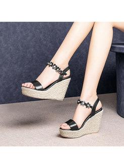 Open Toe Espadrille Wedge Heel Sandals