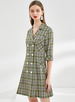 Plaid Double-breasted Wide Lapel Blazer Dress