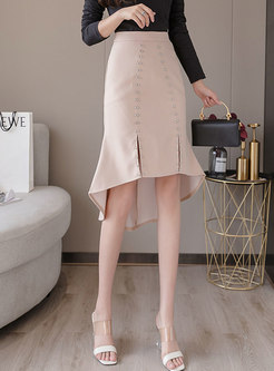 High Waisted Rivet Asymmetric Peplum Skirt