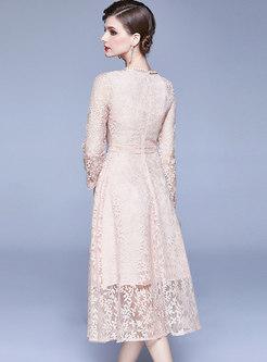 Crew Neck Bowknot Lace Bridesmaid Dress