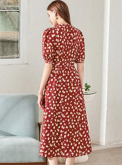 Print Puff Sleeve V-neck Wrap Midi Dress