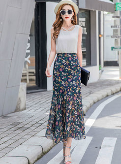 Chiffon Floral High Waisted Peplum Skirt