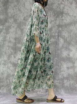 Crew Neck Print Loose Maxi Dress With Camisole