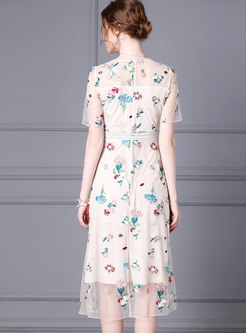 Mesh Embroidered Gathered Waist Midi Dress
