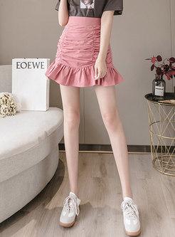 Sweet High Waisted Ruched Ruffle Mini Skirt