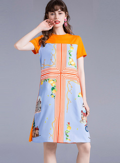 Crew Neck Patchwork Print Shift Dress