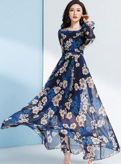 Print Flare Sleeve Big Hem Maxi Beach Dress