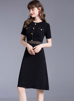 Crew Neck Patchwork Slim Knitted Dress