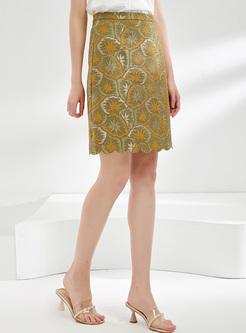 Lace Print High Waisted Bodycon Skirt