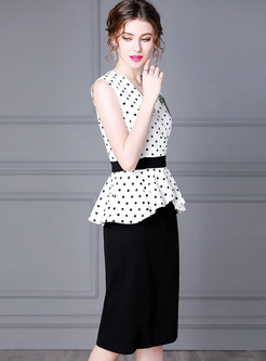 Polka Dot Patchwork Ruffle Bodycon Dress