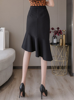 High Waisted Asymmetric Ruffle Pencil Skirt