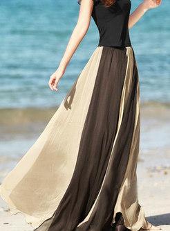 Color Block Chiffon Big Hem Beach Skirt
