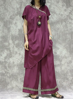 V-neck Patchwork Asymmetric Wide Leg Pant Suits