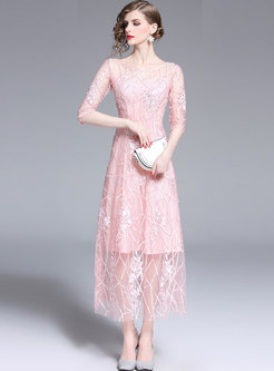 Pink Crew Neck Embroidered Party Maxi Dress