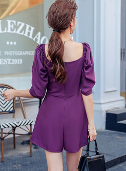 Puff Sleeve Cross V-neck Ruched Romper