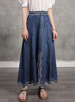 Denim Embroidered High Waisted A-line Skirt