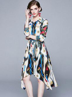 Print Lapel Asymmetric Tied Shirt Dress