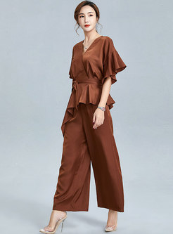 V-neck Belted Ruffle Asymmetric Pant Suits