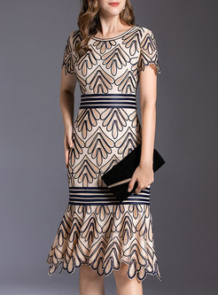 Elegant Embroidered Sheath Peplum Dress