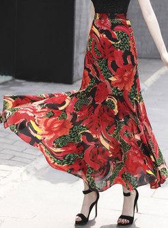 Print High Waisted Maxi Beach Skirt