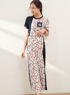 Geometric Print Patchwork Pant Suits
