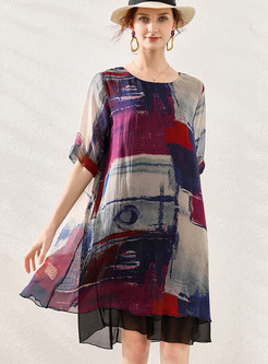 Color Block Patchwork Chiffon Shift Dress